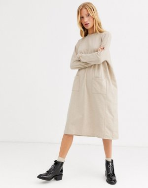 Бежевое платье-джемпер миди в стиле oversized от -Бежевый Monki
