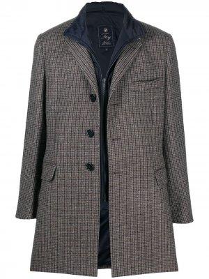 Пальто со съемным жилетом Fay. Цвет: коричневый