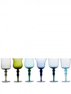 Шесть бокалов для вина Bitossi Home. Цвет: зеленый
