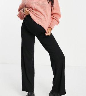 Черные трикотажные брюки с широкими штанинами и посадкой над животом ASOS DESIGN Maternity-Черный цвет Maternity
