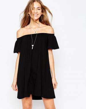 Платье мини с открытыми плечами ASOS DESIGN. Цвет: черный