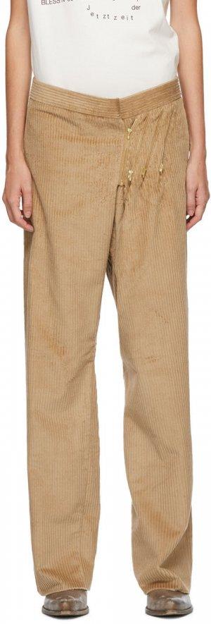 Tan SMLXL Long Corduroy Trousers Bless. Цвет: beige cord