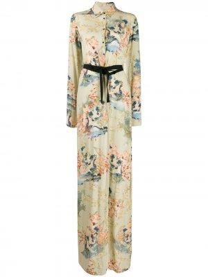 Платье-рубашка макси с цветочным принтом A.F.Vandevorst. Цвет: зеленый