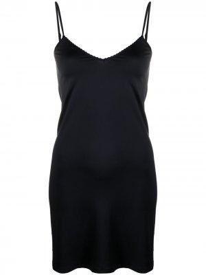 Платье-комбинация с V-образным вырезом Hanro. Цвет: черный