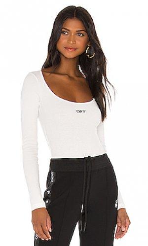 Rib long sleeve bodysuit OFF-WHITE. Цвет: белый