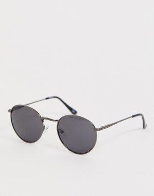 Круглые солнцезащитные очки в металлической оправе с дымчатыми стеклами -Серый ASOS DESIGN