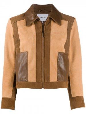 Куртка в технике пэчворк FRAME. Цвет: коричневый