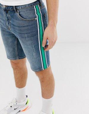 Джинсовые синие облегающие шорты с полосками по бокам -Синий ASOS DESIGN