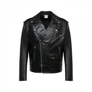 Кожаная куртка VETEMENTS. Цвет: чёрный