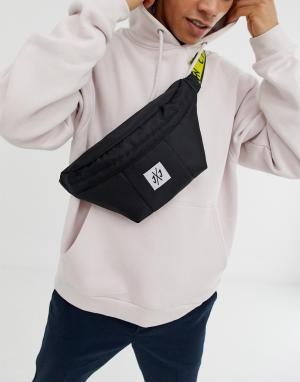 Черная сумка-кошелек с контрастным ремешком Jack & Jones. Цвет: черный