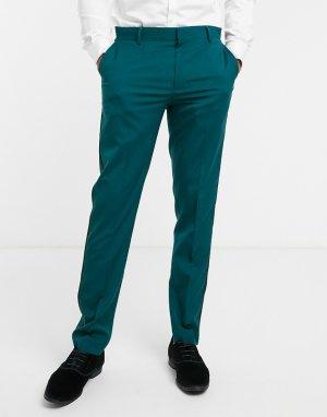 Зеленые брюки скинни под смокинг -Зеленый цвет ASOS DESIGN