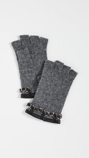 Chain Detail Knit Fingerless Gloves Carolina Amato