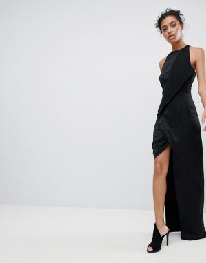 Платье макси с запахом и асимметричным разрезом AQ/AQ AQ. Цвет: черный