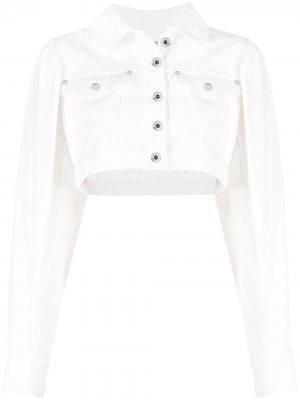 Укороченная джинсовая куртка Patrizia Pepe. Цвет: белый