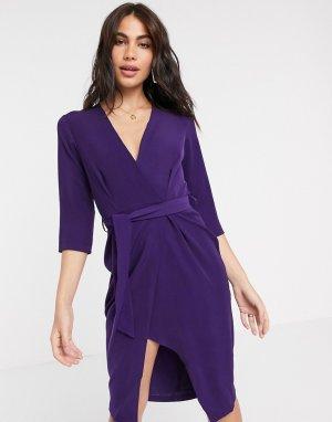 Фиолетовое платье-футляр с рукавами 3/4 и запахом Closet-Фиолетовый Closet London