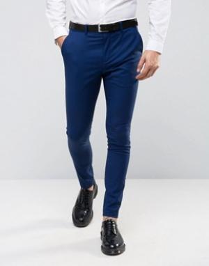 Супероблегающие брюки под смокинг Selected Homme. Цвет: темно-синий