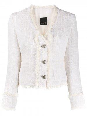 Укороченный твидовый пиджак Pinko. Цвет: белый