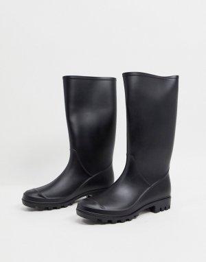 Черные матовые резиновые сапоги Genie-Черный ASOS DESIGN