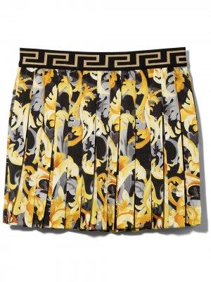 Плиссированная юбка с узором Versace Kids. Цвет: черный