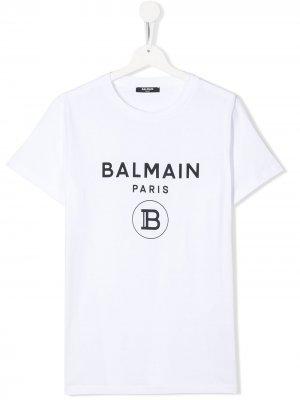 Футболка с короткими рукавами и логотипом Balmain Kids. Цвет: белый