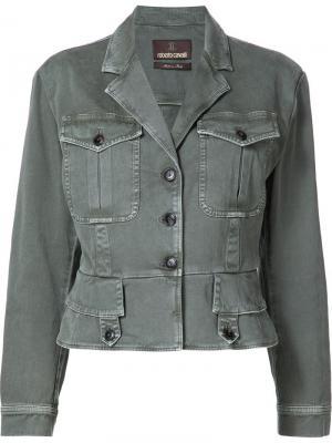 Джинсовая куртка с нагрудными карманами Roberto Cavalli. Цвет: зелёный