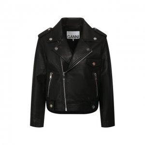 Кожаная куртка Ganni. Цвет: чёрный