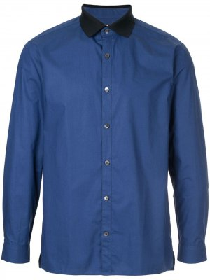 Рубашка с контрастным воротником Cerruti 1881. Цвет: синий