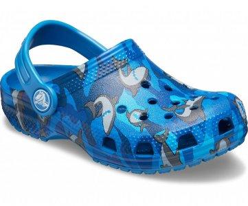 Сабо для мальчиков CROCS Kids Classic Shark Clog Prep Blue арт. 206147. Цвет: prep blue