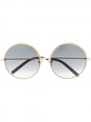 Солнцезащитные очки в круглой оправе Matthew Williamson. Цвет: золотистый