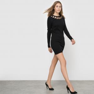 Платье трикотажное с ажурным вырезом FRENCH CONNECTION. Цвет: черный