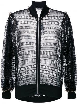Плетеная куртка-бомбер Alexander McQueen. Цвет: чёрный