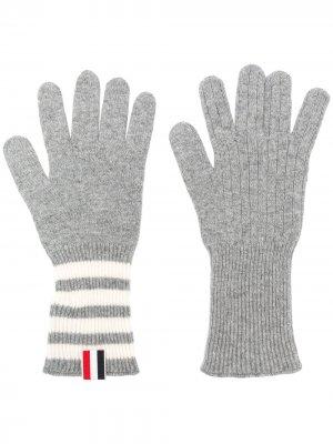 Кашемировые перчатки с полосками 4-Bar Thom Browne. Цвет: серый