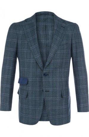 Однобортный пиджак из смеси шерсти и льна с шелком Andrea Campagna. Цвет: зелёный