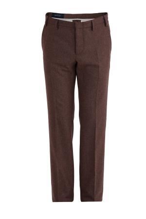 Классические прямые брюки из шерстяной фланели GUCCI. Цвет: коричневый