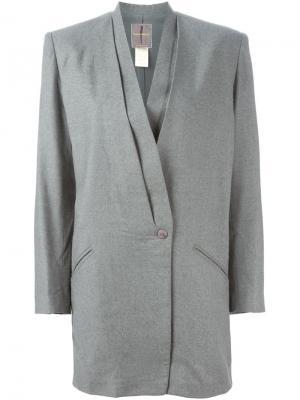 Драпированный пиджак Issey Miyake Pre-Owned. Цвет: серый