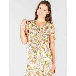 Платье расклешенное с цветочным рисунком DERHY. Цвет: экрю/рисунок