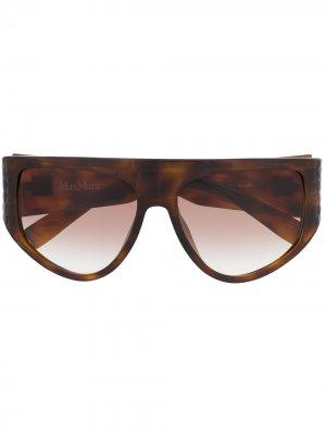 Массивные солнцезащитные очки в D-образной оправе Max Mara. Цвет: коричневый