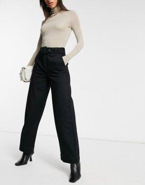 Черные джинсы с широкими штанинами и ремнем Femme-Черный Selected