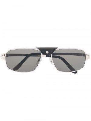 Солнцезащитные очки-авиаторы CT0295S Cartier Eyewear. Цвет: серебристый