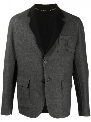Кашемировый пиджак с вышитым логотипом Billionaire. Цвет: серый