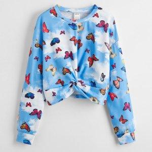 Для девочек Пуловер с драпировкой бабочка SHEIN. Цвет: многоцветный