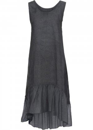 Платье с воланом, лен bonprix. Цвет: серый