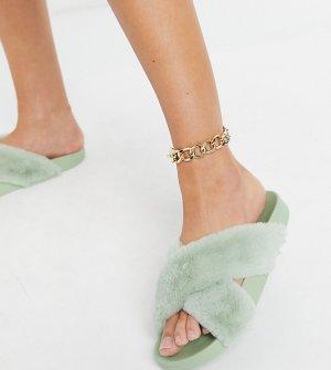 Шалфейно-зеленые пушистые тапочки с перекрестной отделкой для широкой стопы Fiona-Зеленый цвет ASOS DESIGN