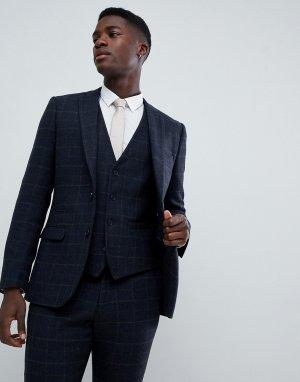 Твидовый приталенный пиджак -Синий French Connection