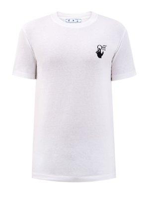 Хлопковая футболка Marker с контрастным логотипом OFF-WHITE. Цвет: белый