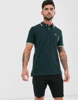 Поло зеленого цвета из ткани пике с окантовкой и логотипом Abercrombie & Fitch. Цвет: зеленый