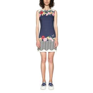 Платье короткое прямое с рисунком, без рукавов DESIGUAL. Цвет: темно-синий/ белый
