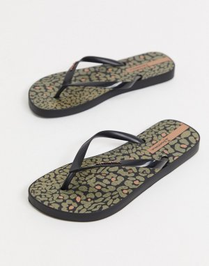 Шлепанцы с леопардовым принтом -Черный цвет Ipanema