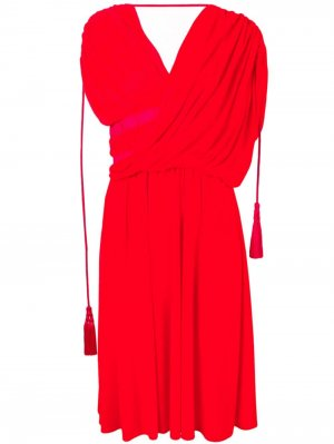 Платье миди асимметричного кроя LANVIN. Цвет: красный
