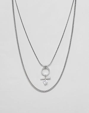 Ожерелье со стразами -Серебряный Nylon